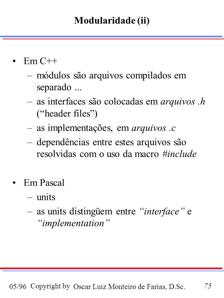 Oscar Luiz Monteiro de Farias, D.Sc.05/96 Copyright by75 Em C++ –módulos são arquivos compilados em separado... –as interfaces são colocadas em arquiv