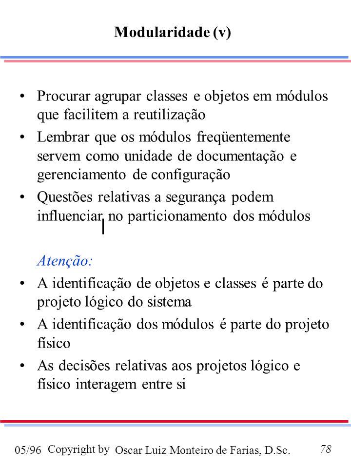 Oscar Luiz Monteiro de Farias, D.Sc.05/96 Copyright by78 Procurar agrupar classes e objetos em módulos que facilitem a reutilização Lembrar que os módulos freqüentemente servem como unidade de documentação e gerenciamento de configuração Questões relativas a segurança podem influenciar no particionamento dos módulos Atenção: A identificação de objetos e classes é parte do projeto lógico do sistema A identificação dos módulos é parte do projeto físico As decisões relativas aos projetos lógico e físico interagem entre si Modularidade (v)