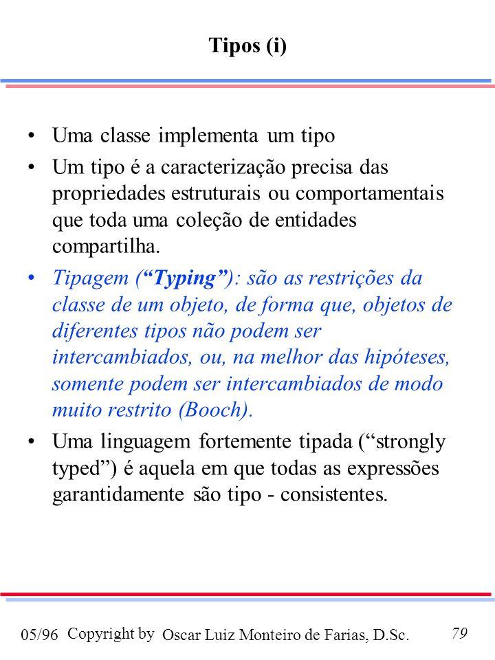 Oscar Luiz Monteiro de Farias, D.Sc.05/96 Copyright by79 Tipos (i) Uma classe implementa um tipo Um tipo é a caracterização precisa das propriedades estruturais ou comportamentais que toda uma coleção de entidades compartilha.