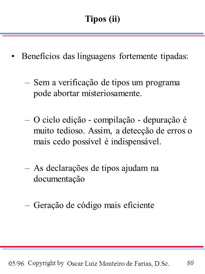 Oscar Luiz Monteiro de Farias, D.Sc.05/96 Copyright by80 Benefícios das linguagens fortemente tipadas: –Sem a verificação de tipos um programa pode ab