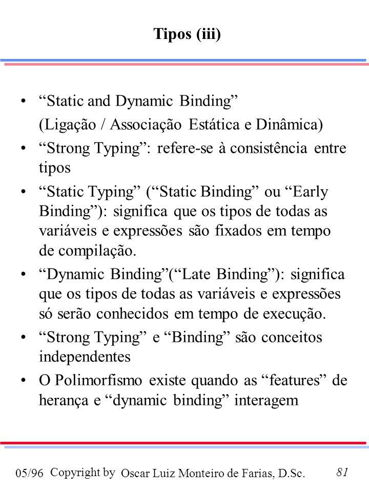 Oscar Luiz Monteiro de Farias, D.Sc.05/96 Copyright by81 Static and Dynamic Binding (Ligação / Associação Estática e Dinâmica) Strong Typing: refere-se à consistência entre tipos Static Typing (Static Binding ou Early Binding): significa que os tipos de todas as variáveis e expressões são fixados em tempo de compilação.