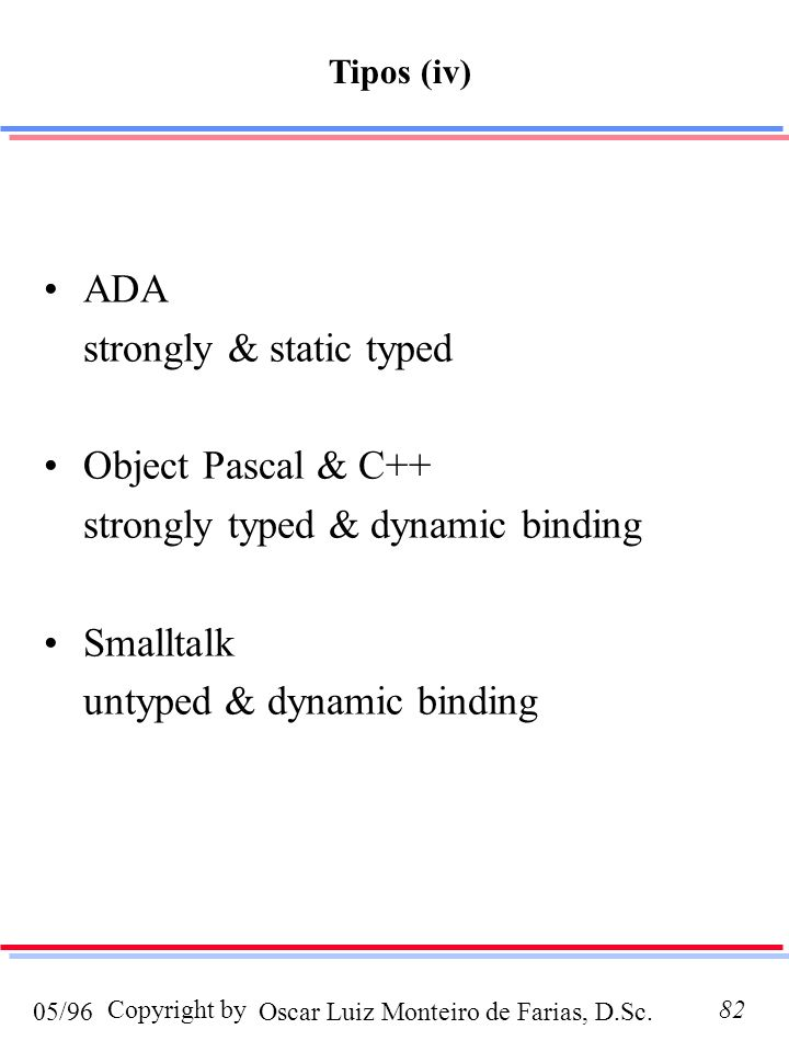 Oscar Luiz Monteiro de Farias, D.Sc.05/96 Copyright by82 ADA strongly & static typed Object Pascal & C++ strongly typed & dynamic binding Smalltalk un