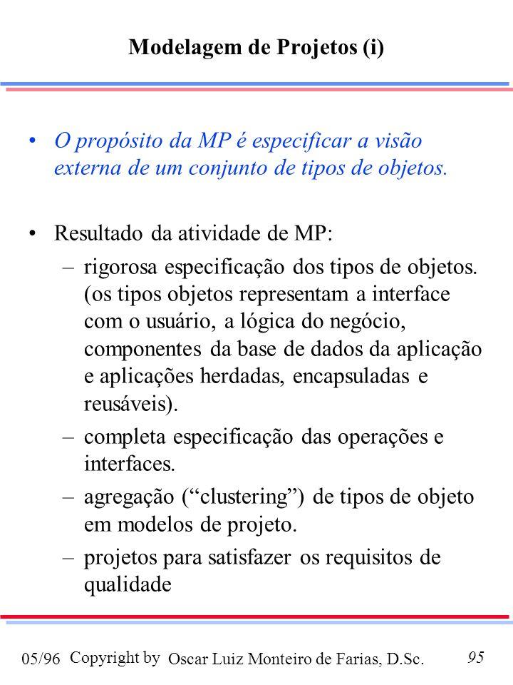 Oscar Luiz Monteiro de Farias, D.Sc.05/96 Copyright by95 Modelagem de Projetos (i) O propósito da MP é especificar a visão externa de um conjunto de t