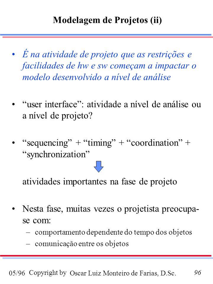 Oscar Luiz Monteiro de Farias, D.Sc.05/96 Copyright by96 É na atividade de projeto que as restrições e facilidades de hw e sw começam a impactar o modelo desenvolvido a nível de análise user interface: atividade a nível de análise ou a nível de projeto.