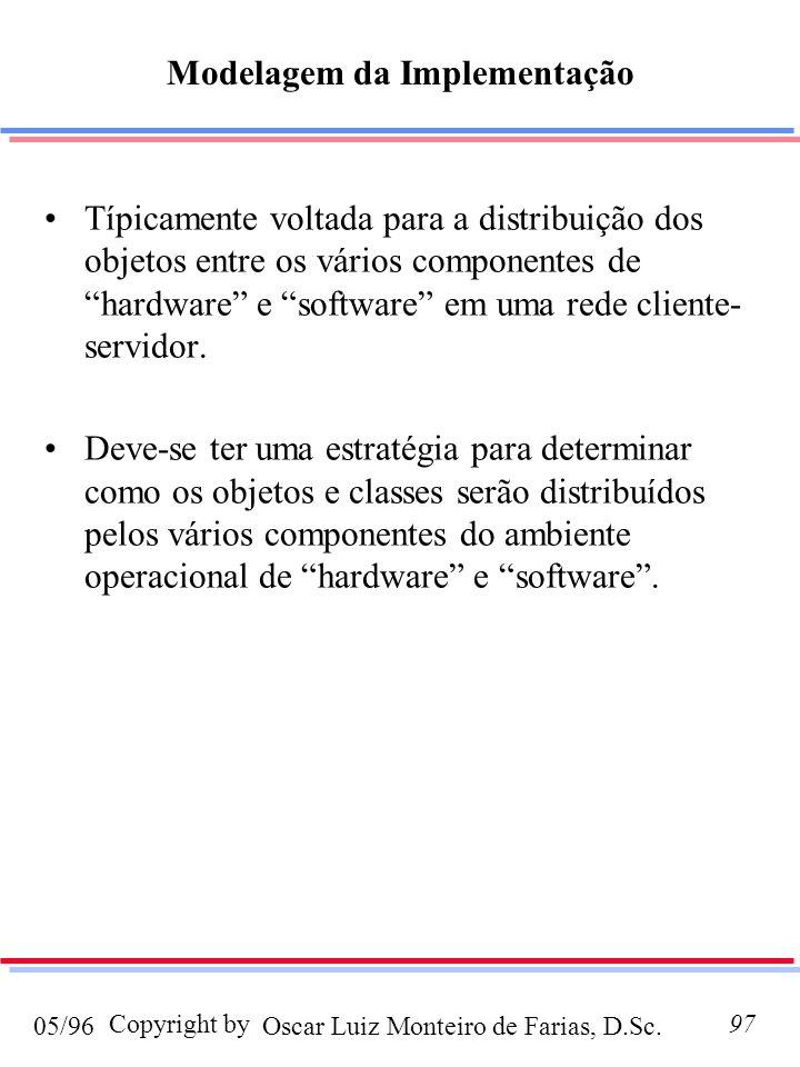 Oscar Luiz Monteiro de Farias, D.Sc.05/96 Copyright by97 Modelagem da Implementação Típicamente voltada para a distribuição dos objetos entre os vários componentes de hardware e software em uma rede cliente- servidor.