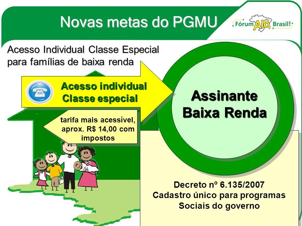 Acesso Individual Classe Especial para famílias de baixa renda Decreto nº 6.135/2007 Cadastro único para programas Sociais do governo Decreto nº 6.135