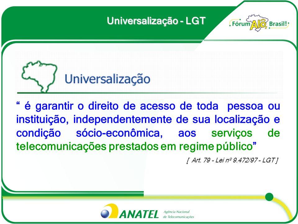 Universalização - LGT é garantir o direito de acesso de toda pessoa ou instituição, independentemente de sua localização e condição sócio-econômica, a