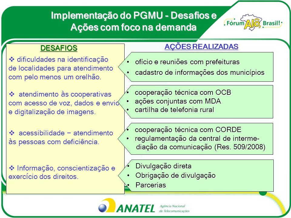 Implementação do PGMU - Desafios e Ações com foco na demanda DESAFIOS DESAFIOS dificuldades na identifica ç ão de localidades para atendimento com pel