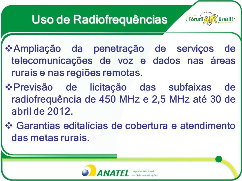 Uso de Radiofrequências Ampliação da penetração de serviços de telecomunicações de voz e dados nas áreas rurais e nas regiões remotas. Previsão de lic