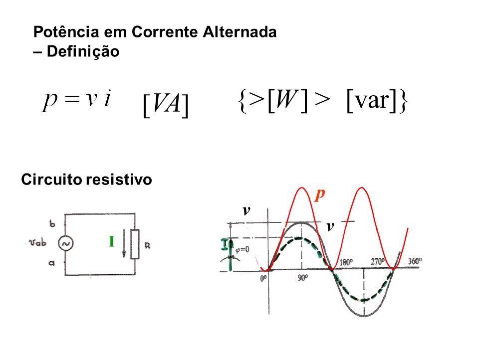Potência em Corrente Alternada – Definição Circuito resistivo I [var]}][>W{>{> ][ VA