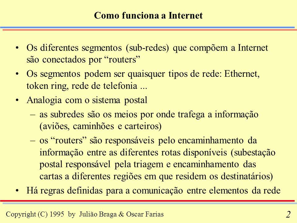 Copyright (C) 1995 by Julião Braga & Oscar Farias 2 Como funciona a Internet Os diferentes segmentos (sub-redes) que compõem a Internet são conectados