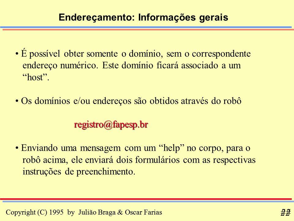Copyright (C) 1995 by Julião Braga & Oscar Farias 22 Copyright (C) 1995 by Julião Braga & Oscar Farias ## Endereçamento: Informações gerais É possível