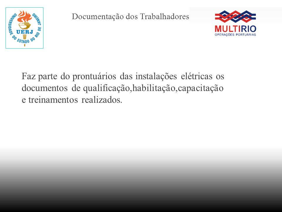 Documentação dos Trabalhadores Faz parte do prontuários das instalações elétricas os documentos de qualificação,habilitação,capacitação e treinamentos