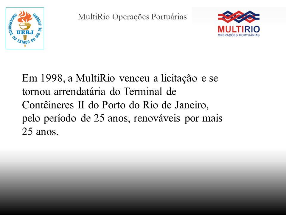 MultiRio Operações Portuárias Em 1998, a MultiRio venceu a licitação e se tornou arrendatária do Terminal de Contêineres II do Porto do Rio de Janeiro