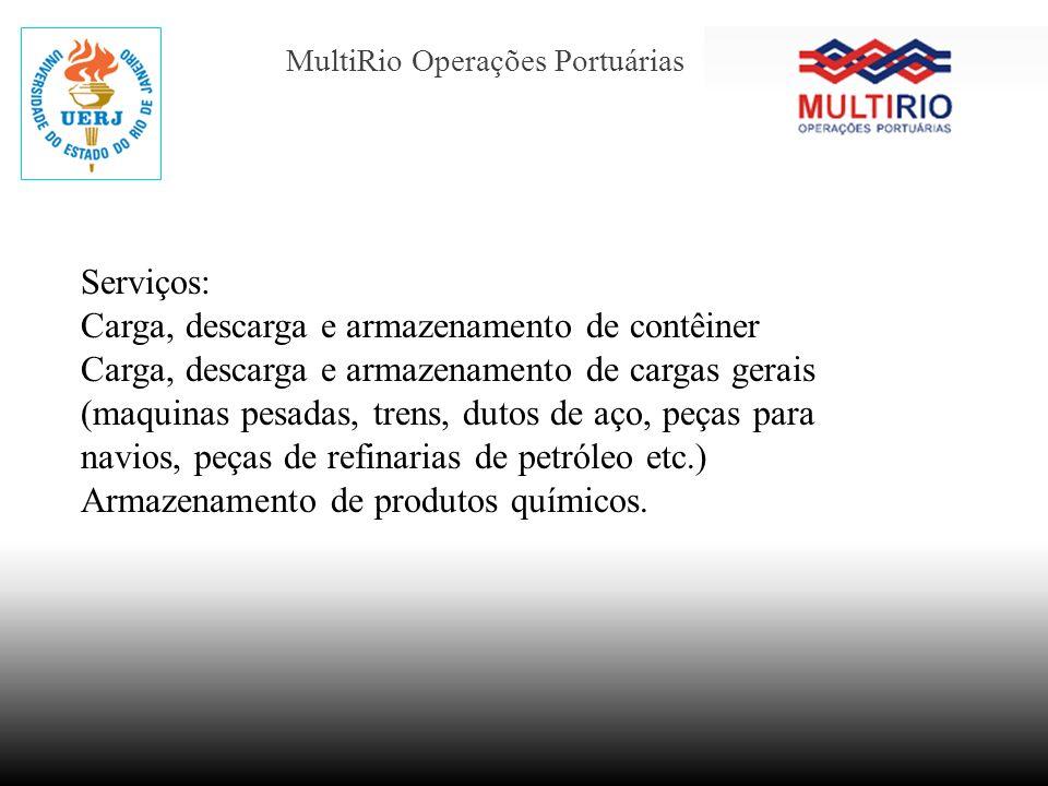 MultiRio Operações Portuárias Serviços: Carga, descarga e armazenamento de contêiner Carga, descarga e armazenamento de cargas gerais (maquinas pesada