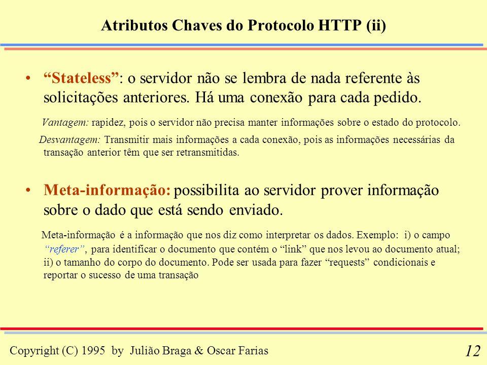 Copyright (C) 1995 by Julião Braga & Oscar Farias 12 Atributos Chaves do Protocolo HTTP (ii) Stateless: o servidor não se lembra de nada referente às