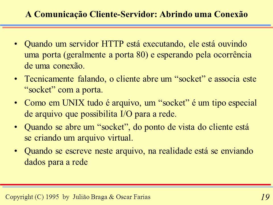 Copyright (C) 1995 by Julião Braga & Oscar Farias 19 A Comunicação Cliente-Servidor: Abrindo uma Conexão Quando um servidor HTTP está executando, ele