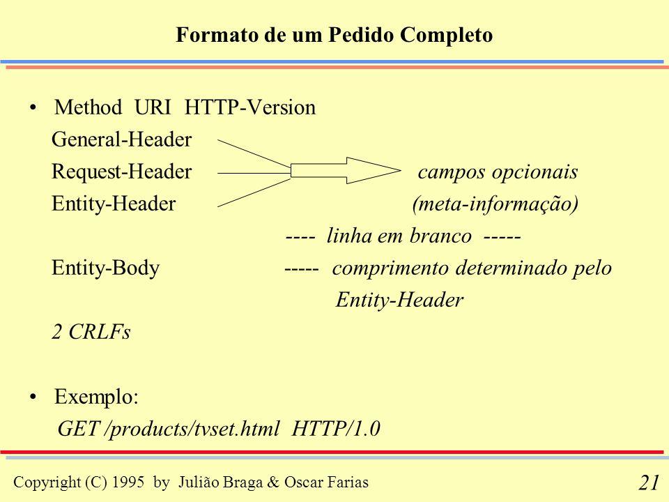 Copyright (C) 1995 by Julião Braga & Oscar Farias 21 Method URI HTTP-Version General-Header Request-Header campos opcionais Entity-Header (meta-inform