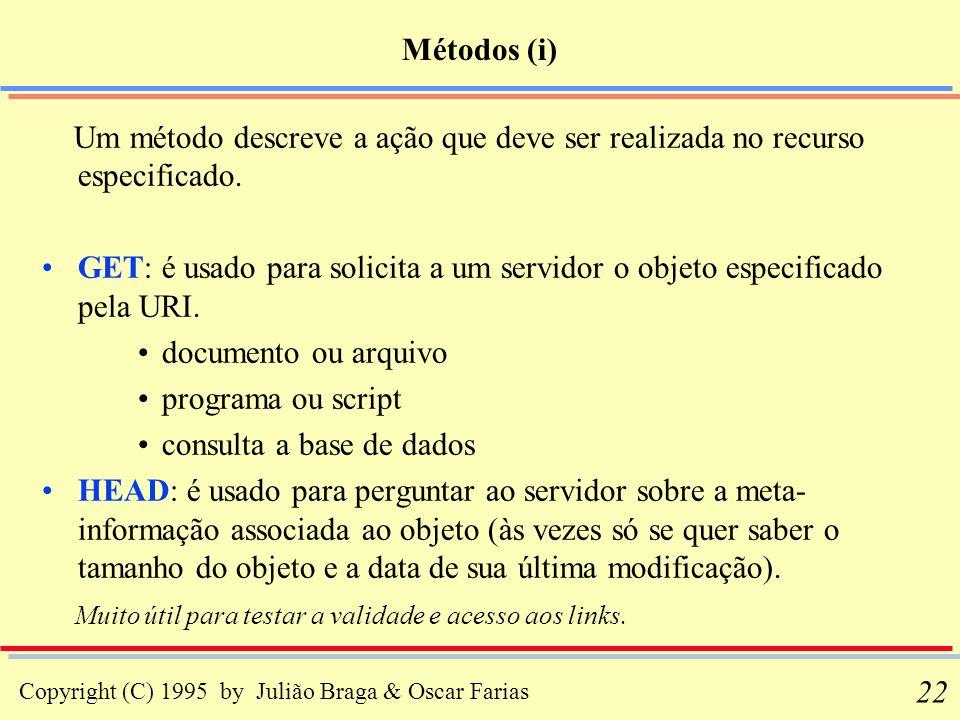 Copyright (C) 1995 by Julião Braga & Oscar Farias 22 Métodos (i) Um método descreve a ação que deve ser realizada no recurso especificado. GET: é usad