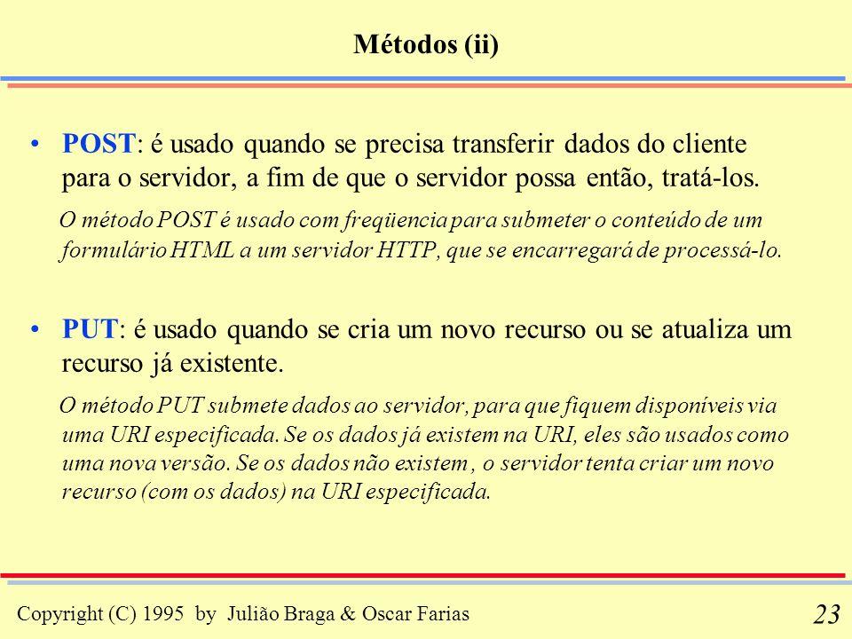 Copyright (C) 1995 by Julião Braga & Oscar Farias 23 Métodos (ii) POST: é usado quando se precisa transferir dados do cliente para o servidor, a fim d