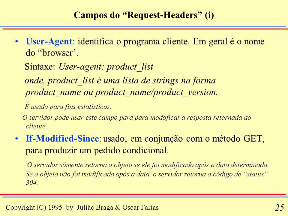 Copyright (C) 1995 by Julião Braga & Oscar Farias 25 Campos do Request-Headers (i) User-Agent: identifica o programa cliente. Em geral é o nome do bro