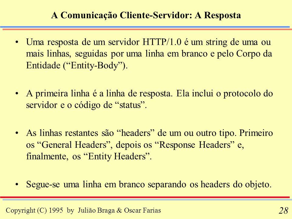 Copyright (C) 1995 by Julião Braga & Oscar Farias 28 A Comunicação Cliente-Servidor: A Resposta Uma resposta de um servidor HTTP/1.0 é um string de um