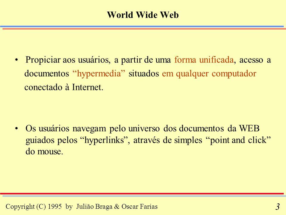 Copyright (C) 1995 by Julião Braga & Oscar Farias 54 Standard Generalized Markup Language - Exemplo Sintaxe, em SGML, para definir o capítulo de um livro simples e sem figuras: <ELEMENT capítulo (capítulo, (parágrafo | cabeçalho) + ) <ELEMENT (capítulo | parágrafo | cabeçalho) (#PCDATA) símbolo significado + uma ou mais vezes | ou, seguido de (...) indica grupamento PCDATA indica que os elementos assim definidos não possuem sub-elementos; eles contêm apenas os caracteres que constituem o conteúdo do documento (parsed character data)