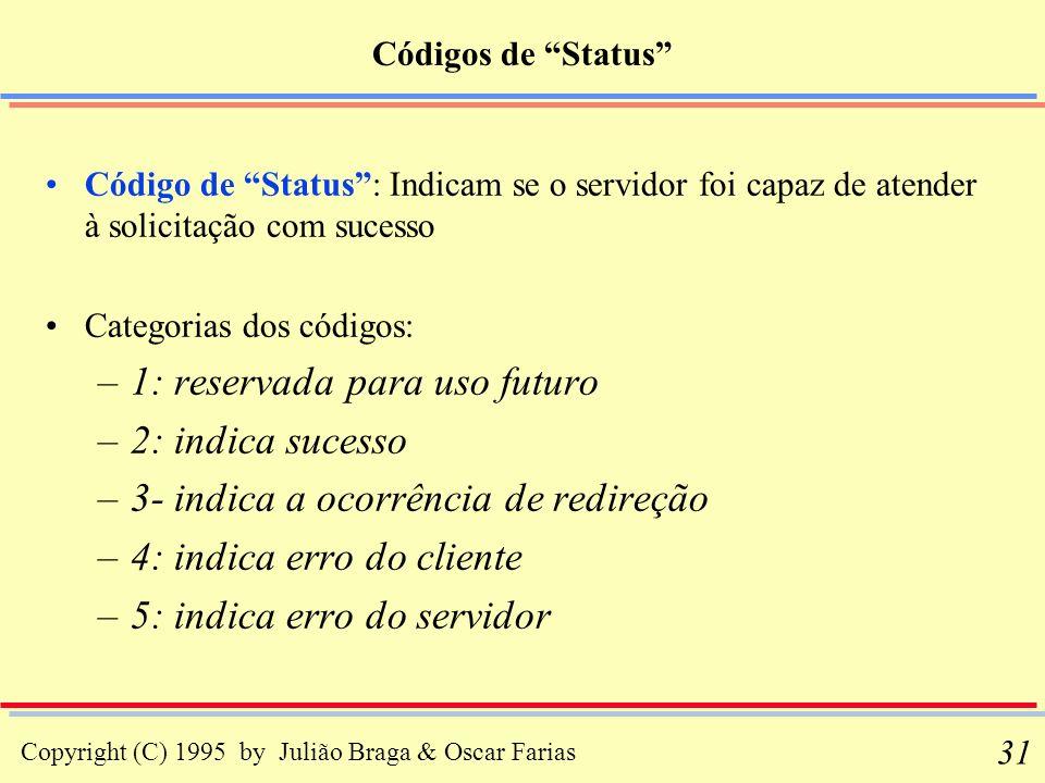 Copyright (C) 1995 by Julião Braga & Oscar Farias 31 Códigos de Status Código de Status: Indicam se o servidor foi capaz de atender à solicitação com