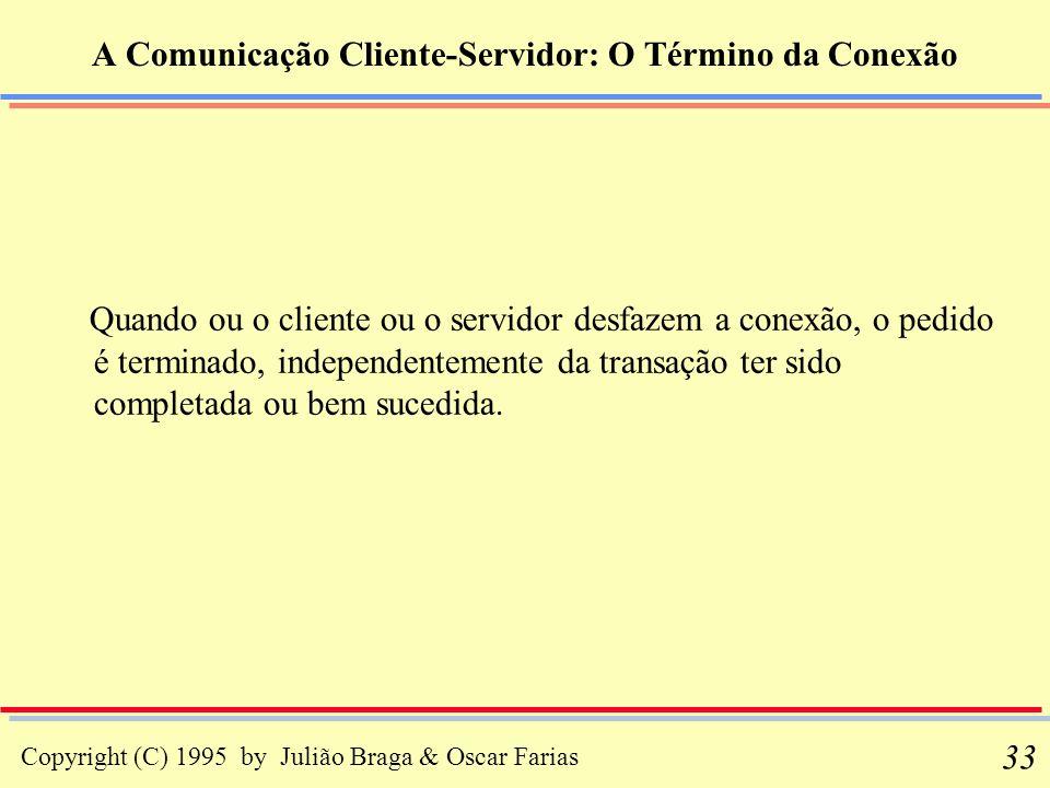 Copyright (C) 1995 by Julião Braga & Oscar Farias 33 A Comunicação Cliente-Servidor: O Término da Conexão Quando ou o cliente ou o servidor desfazem a