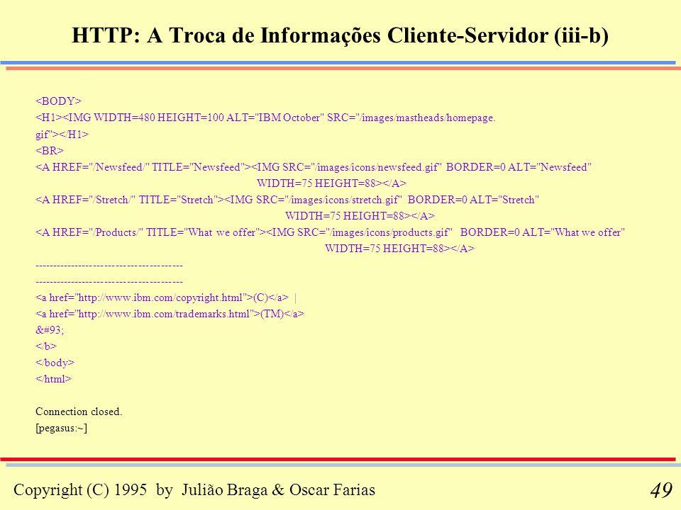 Copyright (C) 1995 by Julião Braga & Oscar Farias 49 HTTP: A Troca de Informações Cliente-Servidor (iii-b) <IMG WIDTH=480 HEIGHT=100 ALT=