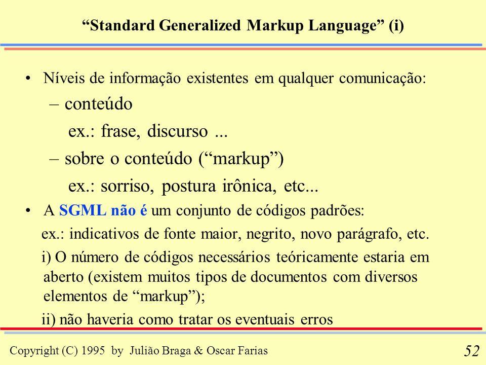 Copyright (C) 1995 by Julião Braga & Oscar Farias 52 Standard Generalized Markup Language (i) Níveis de informação existentes em qualquer comunicação: