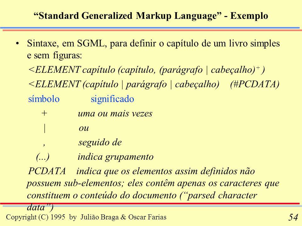 Copyright (C) 1995 by Julião Braga & Oscar Farias 54 Standard Generalized Markup Language - Exemplo Sintaxe, em SGML, para definir o capítulo de um li