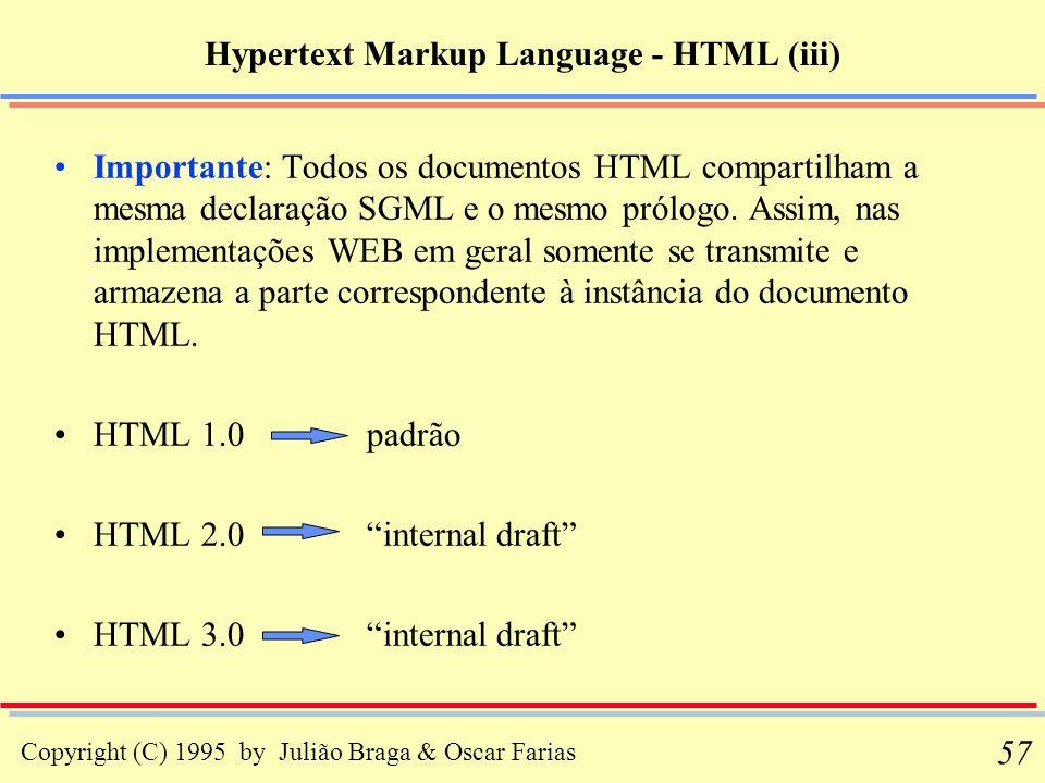 Copyright (C) 1995 by Julião Braga & Oscar Farias 57 Hypertext Markup Language - HTML (iii) Importante: Todos os documentos HTML compartilham a mesma