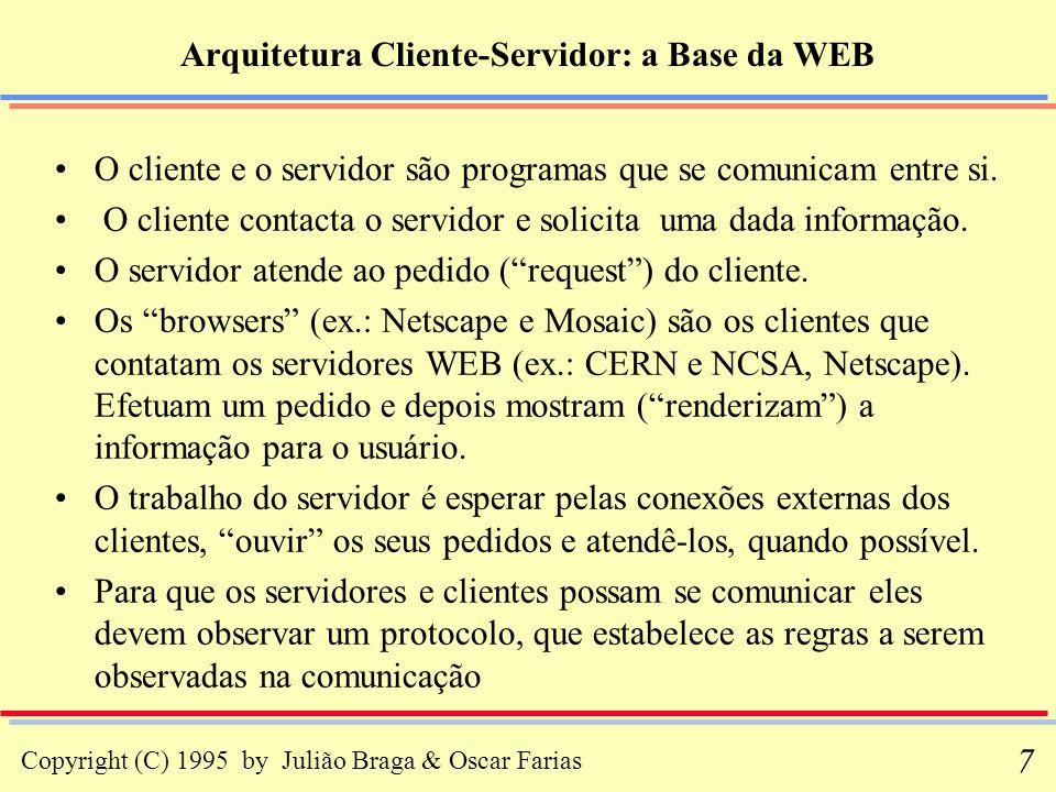 Copyright (C) 1995 by Julião Braga & Oscar Farias 58 Hypertext Markup Language - HTML (iv) Um elemento em HTML é um identificador para certas partes de um objeto, incluindo como a parte do objeto é renderizada (apresentada), como o objeto é linkado (associado) a diferentes objetos, etc...