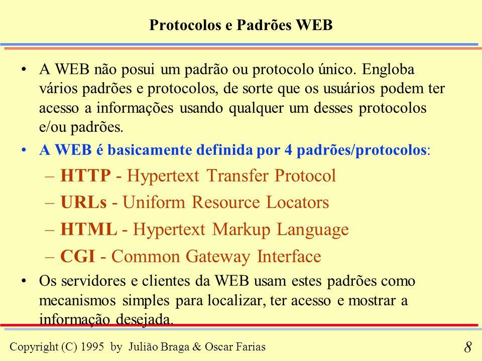 Copyright (C) 1995 by Julião Braga & Oscar Farias 19 A Comunicação Cliente-Servidor: Abrindo uma Conexão Quando um servidor HTTP está executando, ele está ouvindo uma porta (geralmente a porta 80) e esperando pela ocorrência de uma conexão.