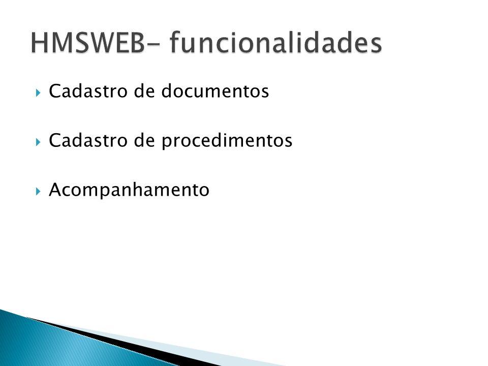 Cadastro de documentos Cadastro de procedimentos Acompanhamento
