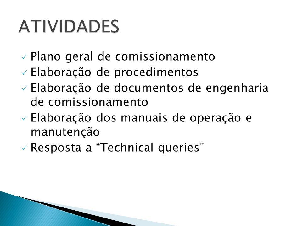 Plano geral de comissionamento Elaboração de procedimentos Elaboração de documentos de engenharia de comissionamento Elaboração dos manuais de operaçã
