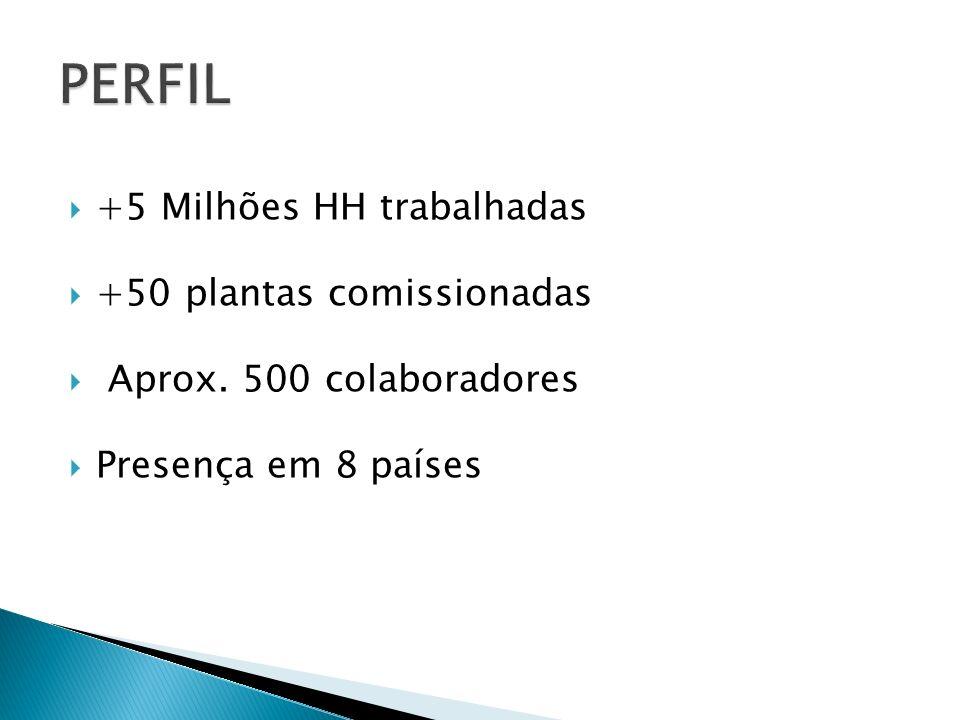 +5 Milhões HH trabalhadas +50 plantas comissionadas Aprox. 500 colaboradores Presença em 8 países