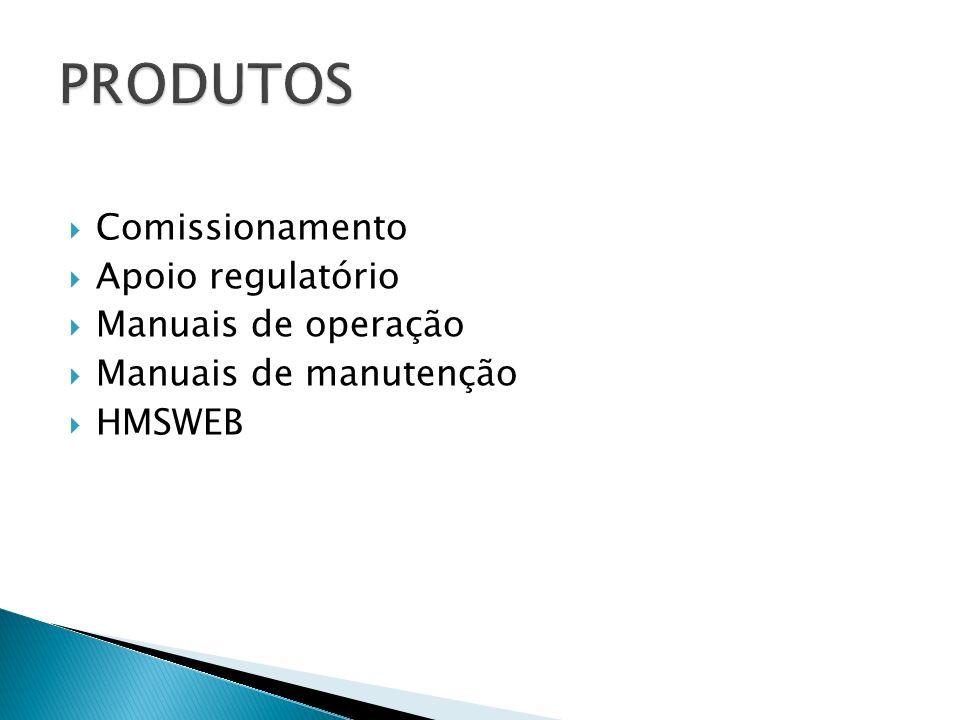Comissionamento Apoio regulatório Manuais de operação Manuais de manutenção HMSWEB