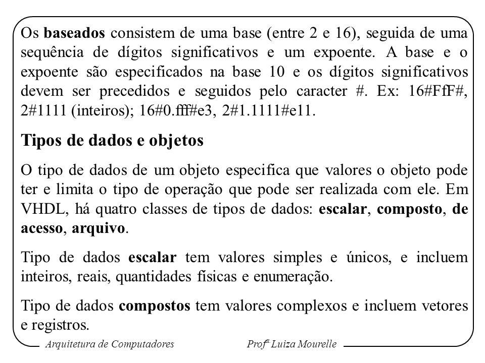 Arquitetura de Computadores Prof a. Luiza Mourelle Os baseados consistem de uma base (entre 2 e 16), seguida de uma sequência de dígitos significativo