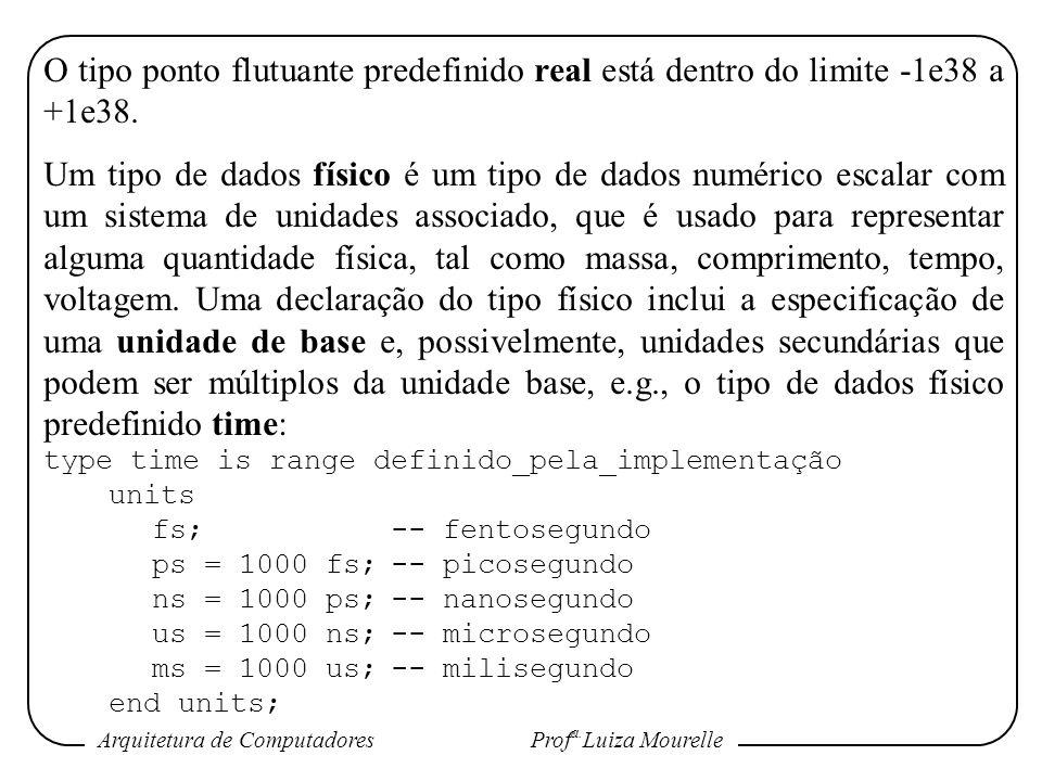 Arquitetura de Computadores Prof a. Luiza Mourelle O tipo ponto flutuante predefinido real está dentro do limite -1e38 a +1e38. Um tipo de dados físic