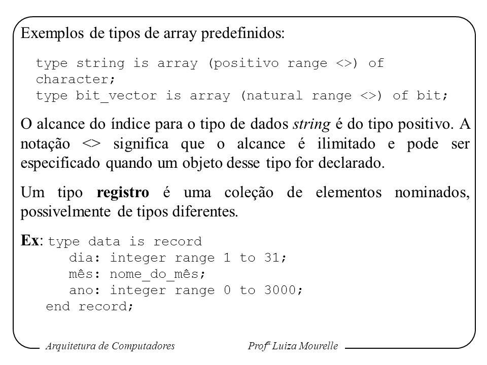 Arquitetura de Computadores Prof a. Luiza Mourelle Exemplos de tipos de array predefinidos: type string is array (positivo range <>) of character; typ