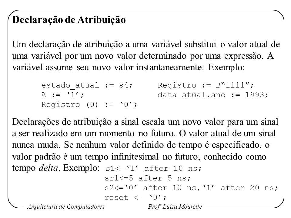 Arquitetura de Computadores Prof a. Luiza Mourelle Declaração de Atribuição Um declaração de atribuição a uma variável substitui o valor atual de uma
