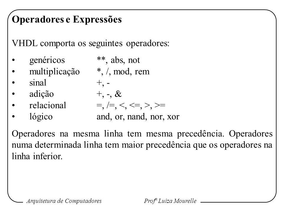 Arquitetura de Computadores Prof a. Luiza Mourelle Operadores e Expressões VHDL comporta os seguintes operadores: genéricos**, abs, not multiplicação*