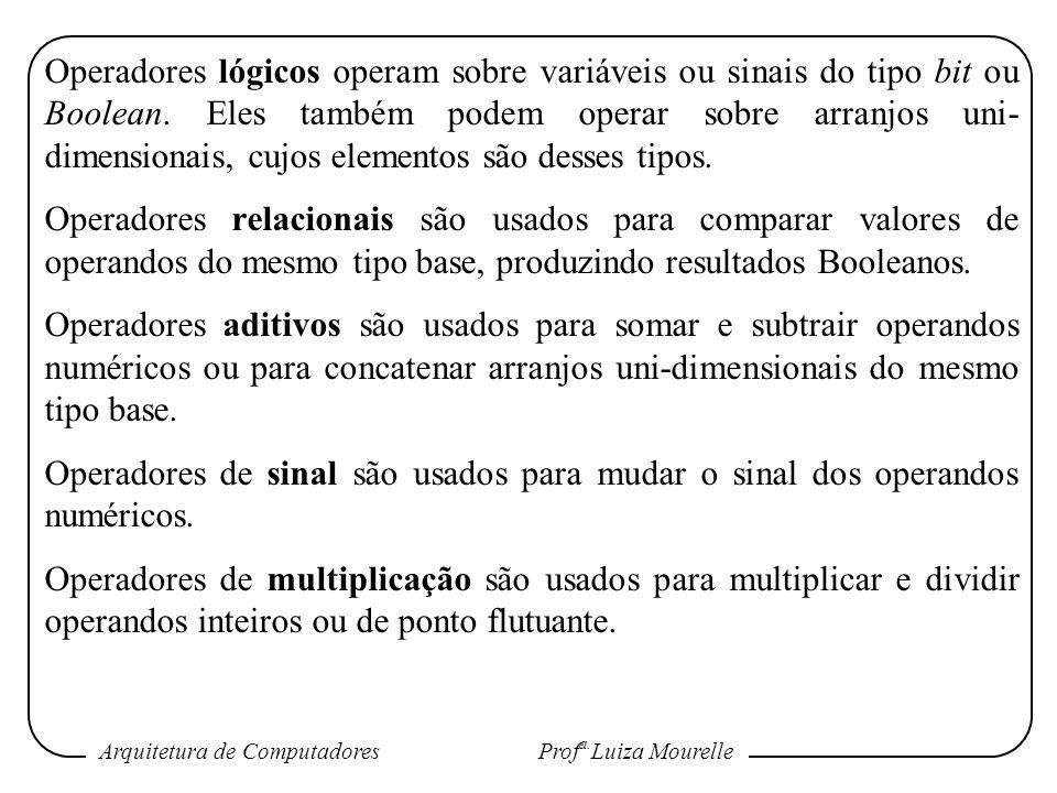 Arquitetura de Computadores Prof a. Luiza Mourelle Operadores lógicos operam sobre variáveis ou sinais do tipo bit ou Boolean. Eles também podem opera