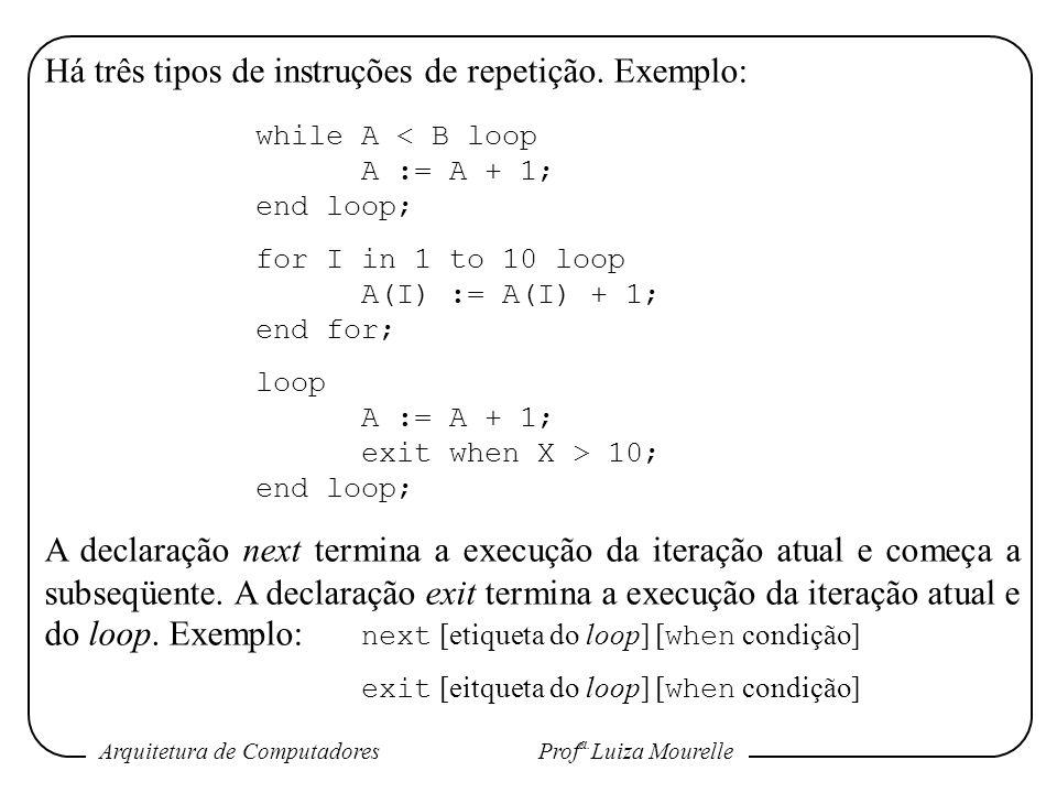 Arquitetura de Computadores Prof a. Luiza Mourelle Há três tipos de instruções de repetição. Exemplo: while A < B loop A := A + 1; end loop; for I in