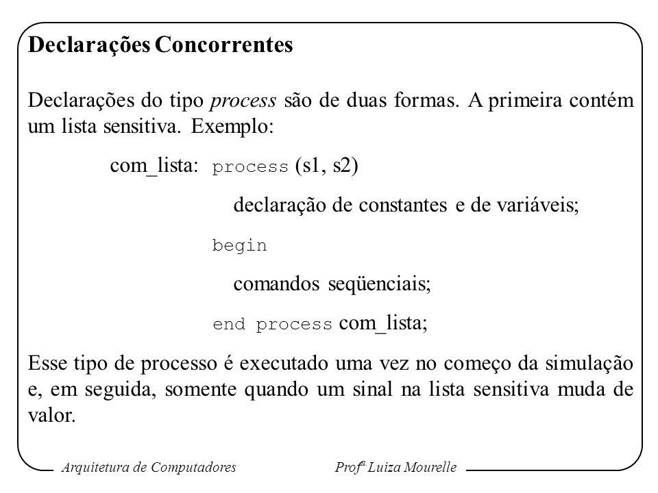 Arquitetura de Computadores Prof a. Luiza Mourelle Declarações Concorrentes Declarações do tipo process são de duas formas. A primeira contém um lista