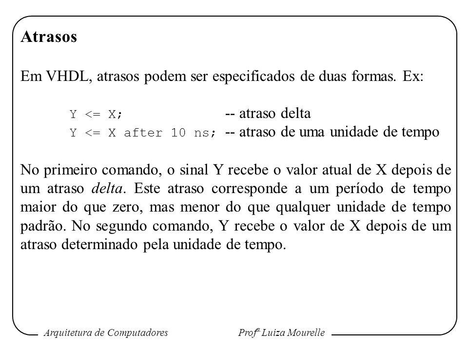 Arquitetura de Computadores Prof a. Luiza Mourelle Atrasos Em VHDL, atrasos podem ser especificados de duas formas. Ex: Y <= X; -- atraso delta Y <= X