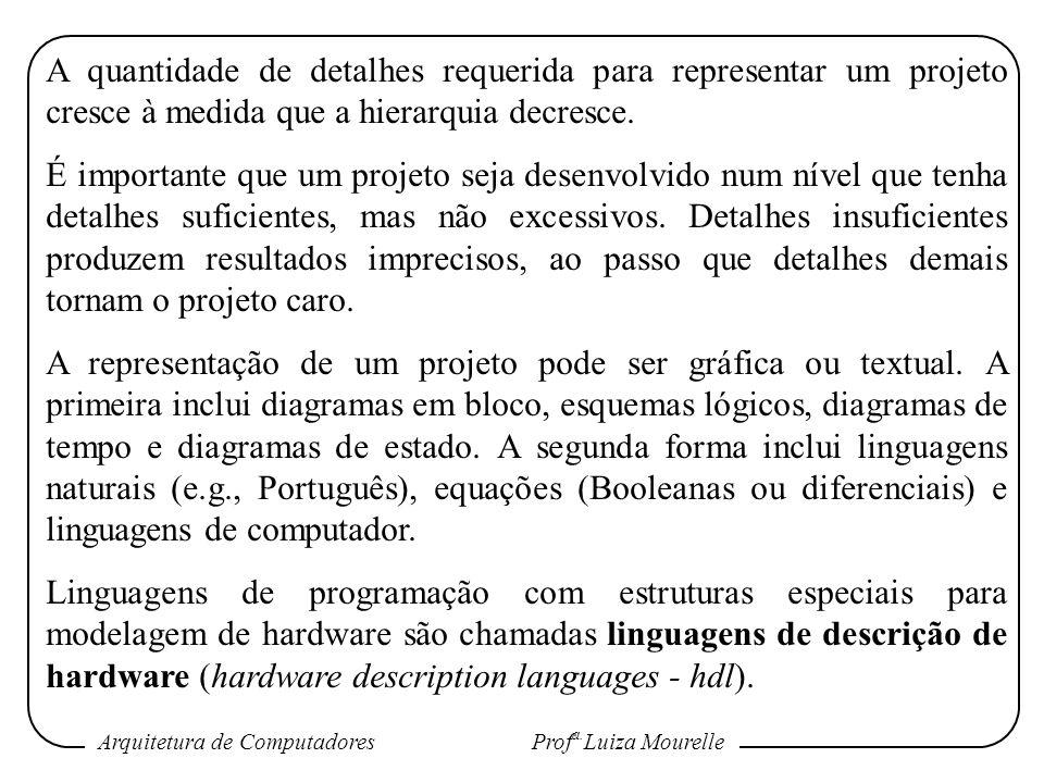 Arquitetura de Computadores Prof a. Luiza Mourelle A quantidade de detalhes requerida para representar um projeto cresce à medida que a hierarquia dec