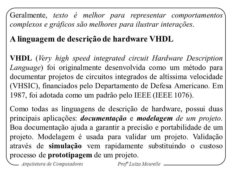 Arquitetura de Computadores Prof a. Luiza Mourelle Geralmente, texto é melhor para representar comportamentos complexos e gráficos são melhores para i